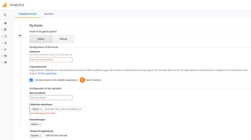 Opsætning af ny Google Analytics konto