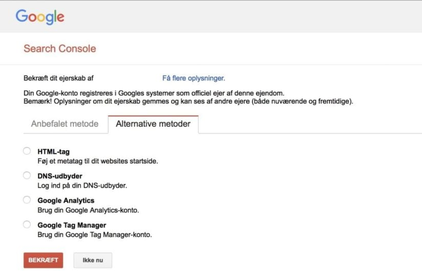 Search Console verificeringsmetoder