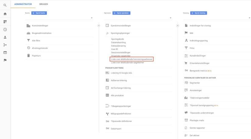 henvisningseskluderinger i Google Analytics