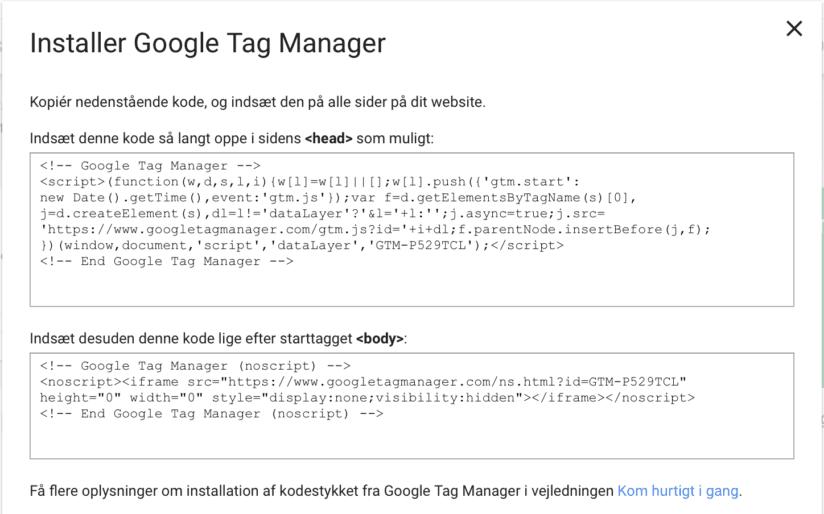 Google Tag Manager kode til opsætningen på din hjemmeside
