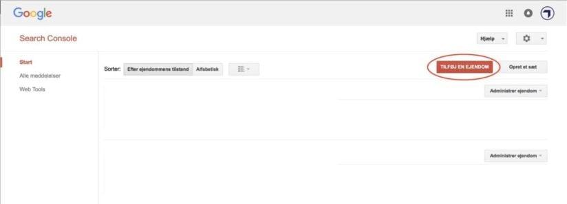 Tilføj ejendom på Google Search Console